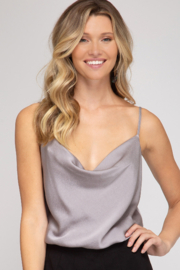 She and Sky Cowl Neck Cami Bodysuit - Front cropped