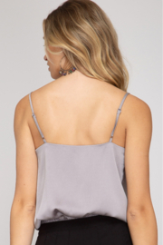 She and Sky Cowl Neck Cami Bodysuit - Front full body