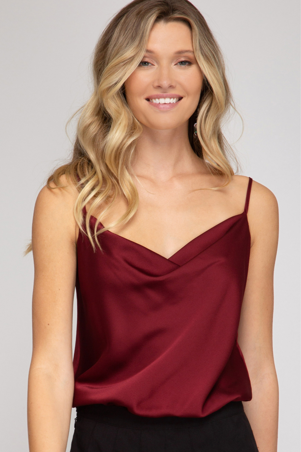She and Sky Cowl Neck Cami Bodysuit - Front Cropped Image