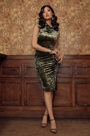 Forest Lily Cowl Neck Crushed Velvet Knit Dress - Product Mini Image