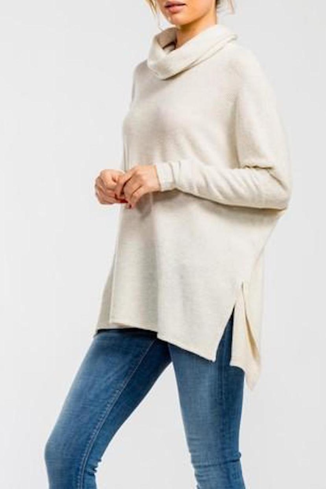 Cherish Cowl-Neck High-Low Top - Side Cropped Image