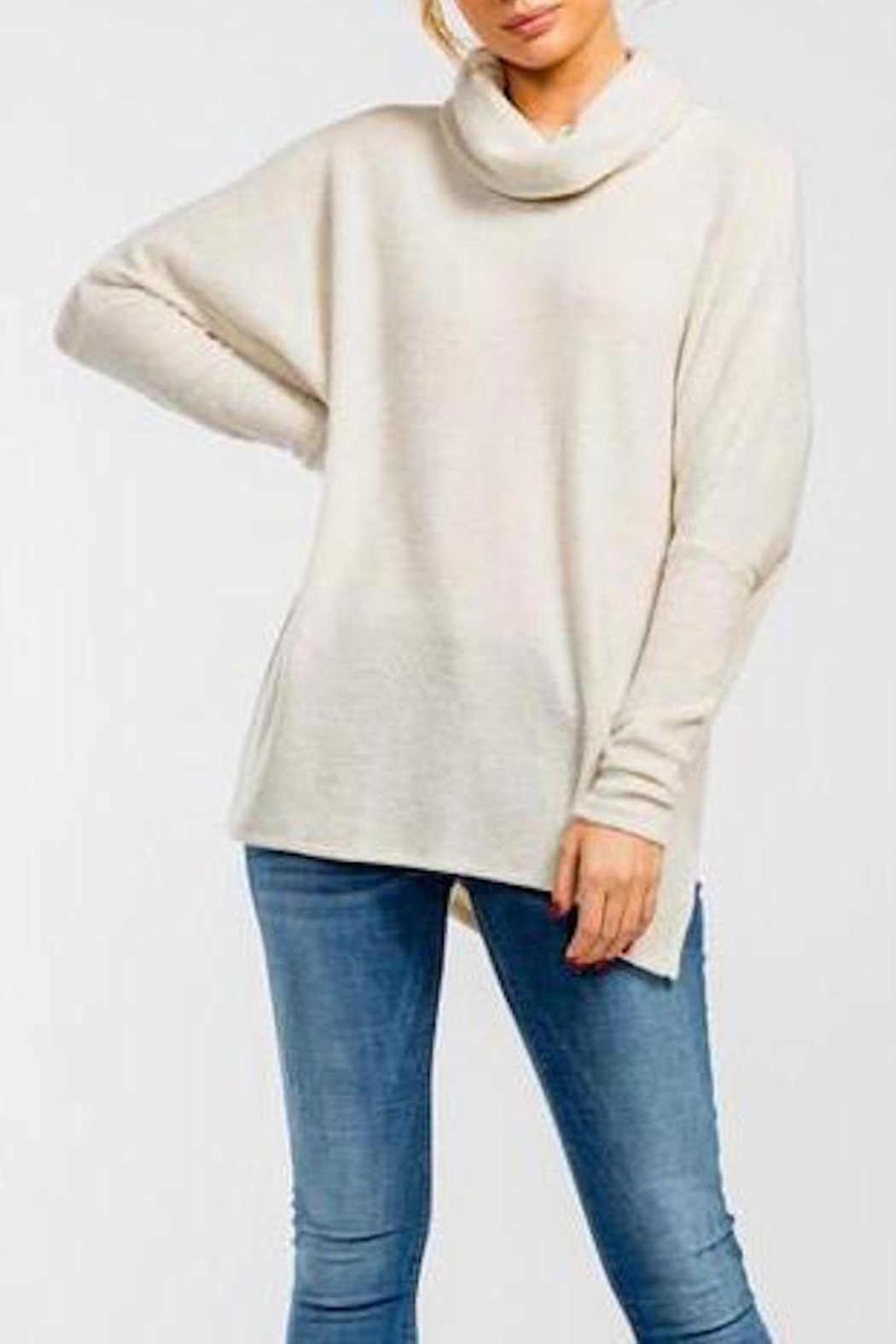 Cherish Cowl-Neck High-Low Top - Front Full Image