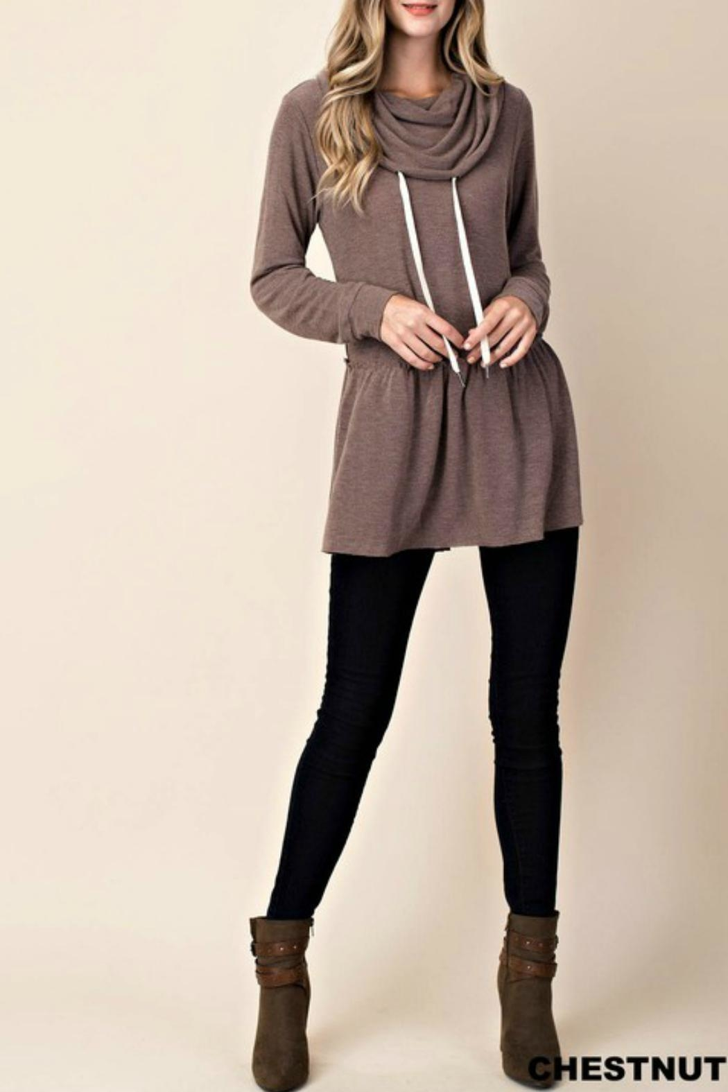KORI AMERICA Cowl-Neck Hoodie Tunic - Front Cropped Image