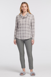 tribal  Cowl Neck Plaid Tunic Top. Long sleeves. - Product Mini Image