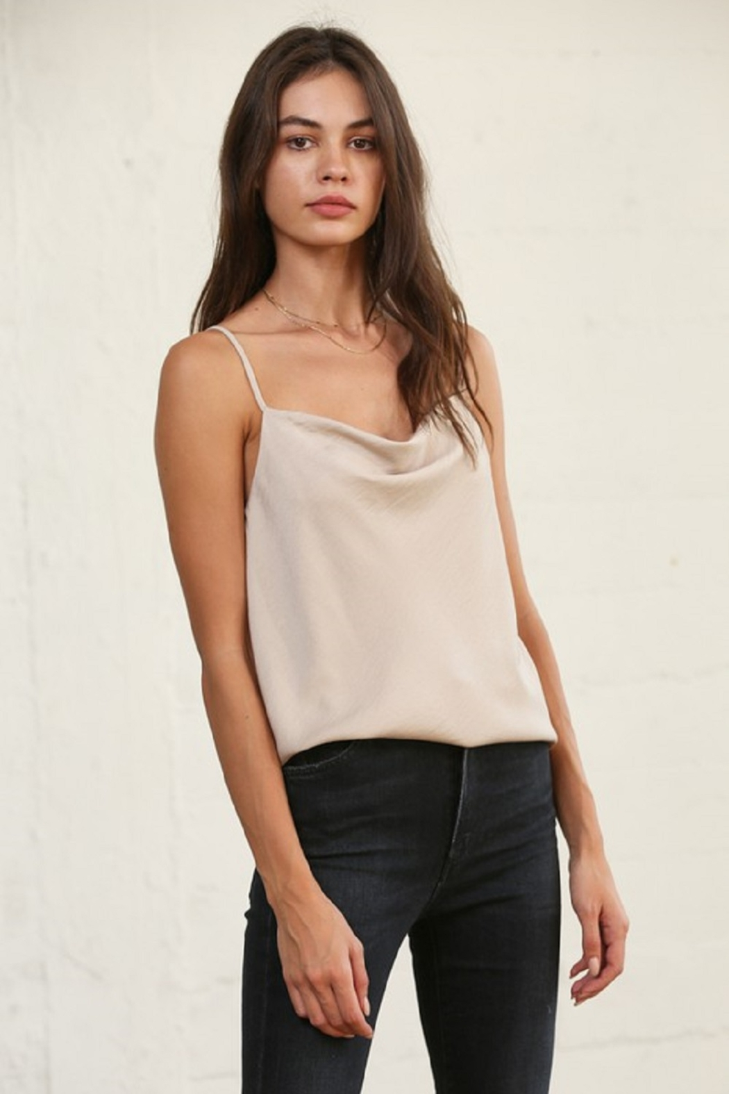 By Together Cowl Neck Satin Cami - Front Cropped Image