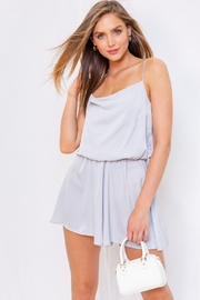 POL  Cowl Neck Satin Romper - Front cropped