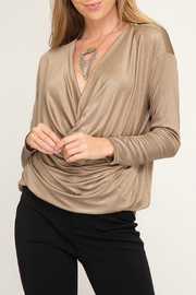She + Sky Cowl Neck Shimmer Top - Product Mini Image