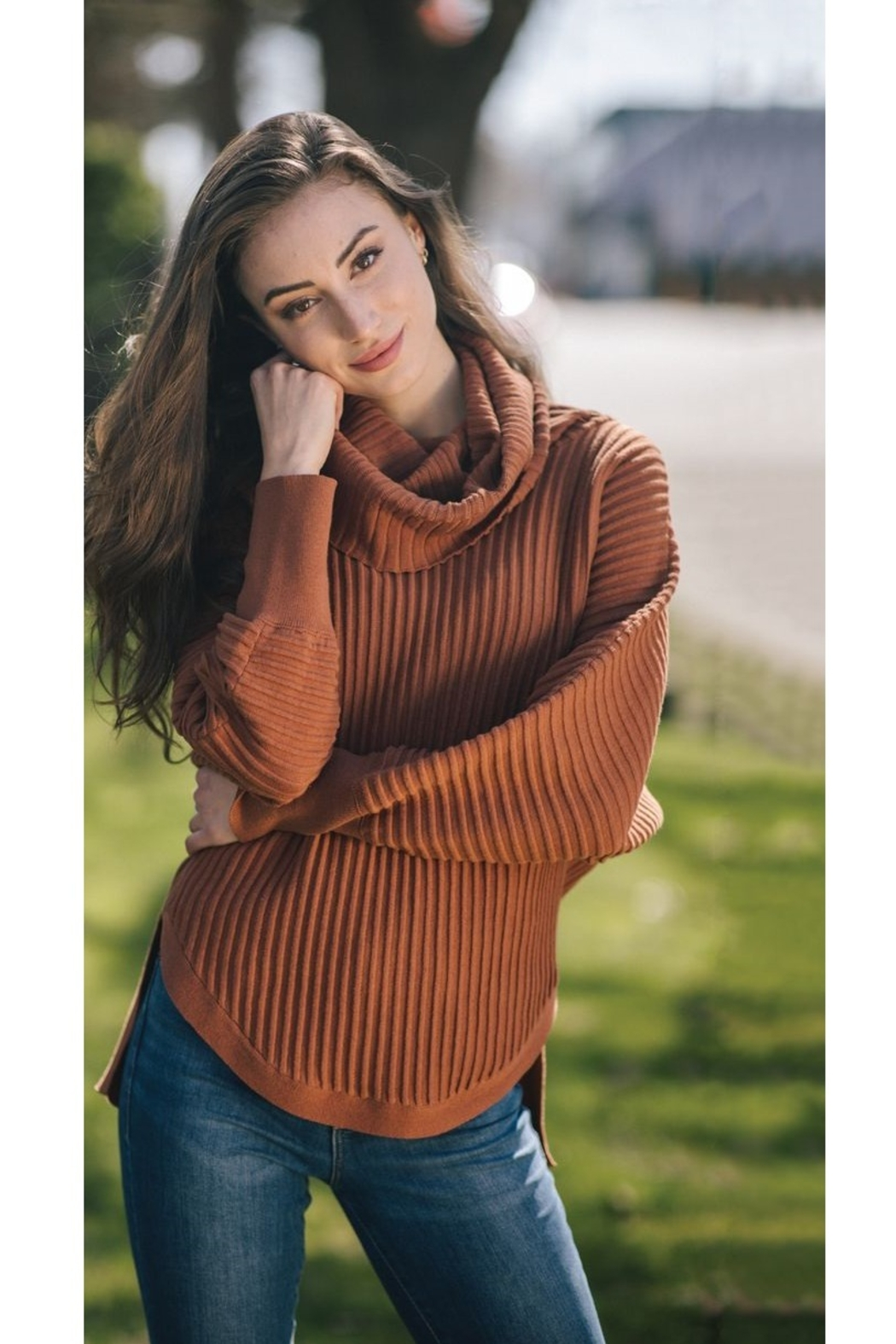 Papillon  Ribbed Cowl Sweater - Front Full Image
