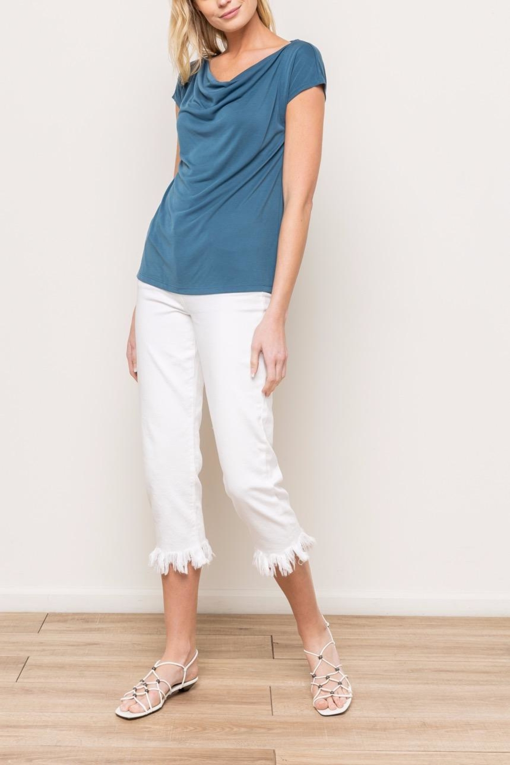 Mystree Cowl Neck Tee - Side Cropped Image