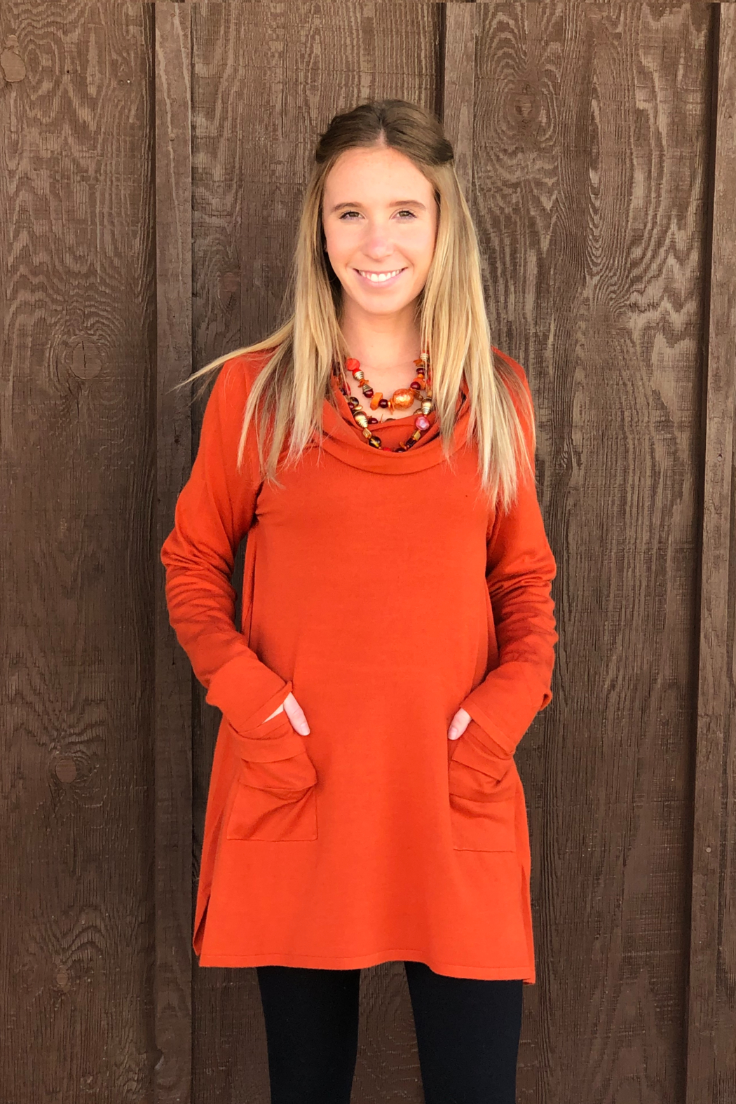 True Blue  Cowl Neck Tunic - Front Cropped Image