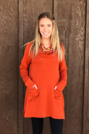 True Blue  Cowl Neck Tunic - Front cropped