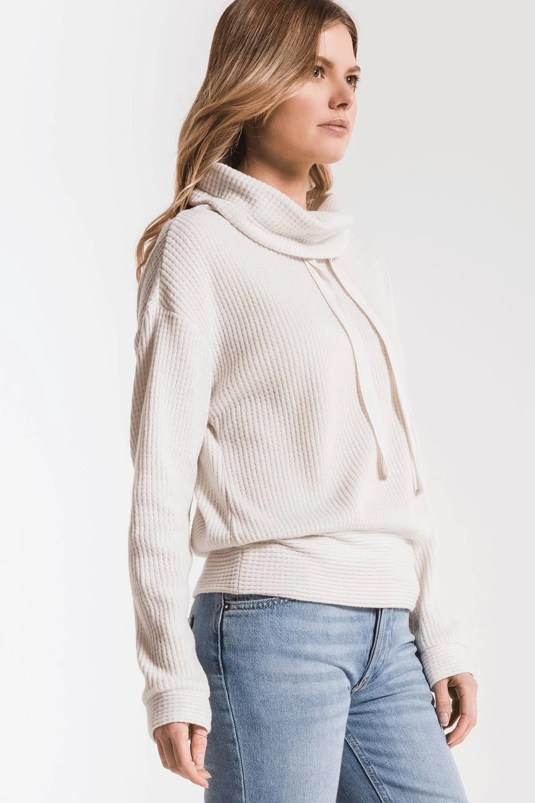 z supply Cowl Neck Waffle Thermal - Side Cropped Image