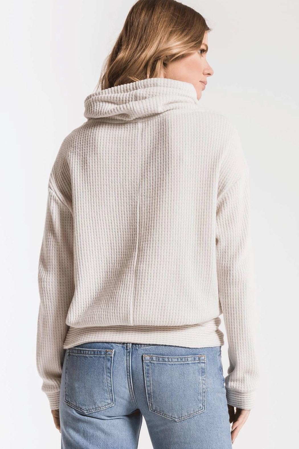 z supply Cowl Neck Waffle Thermal - Back Cropped Image