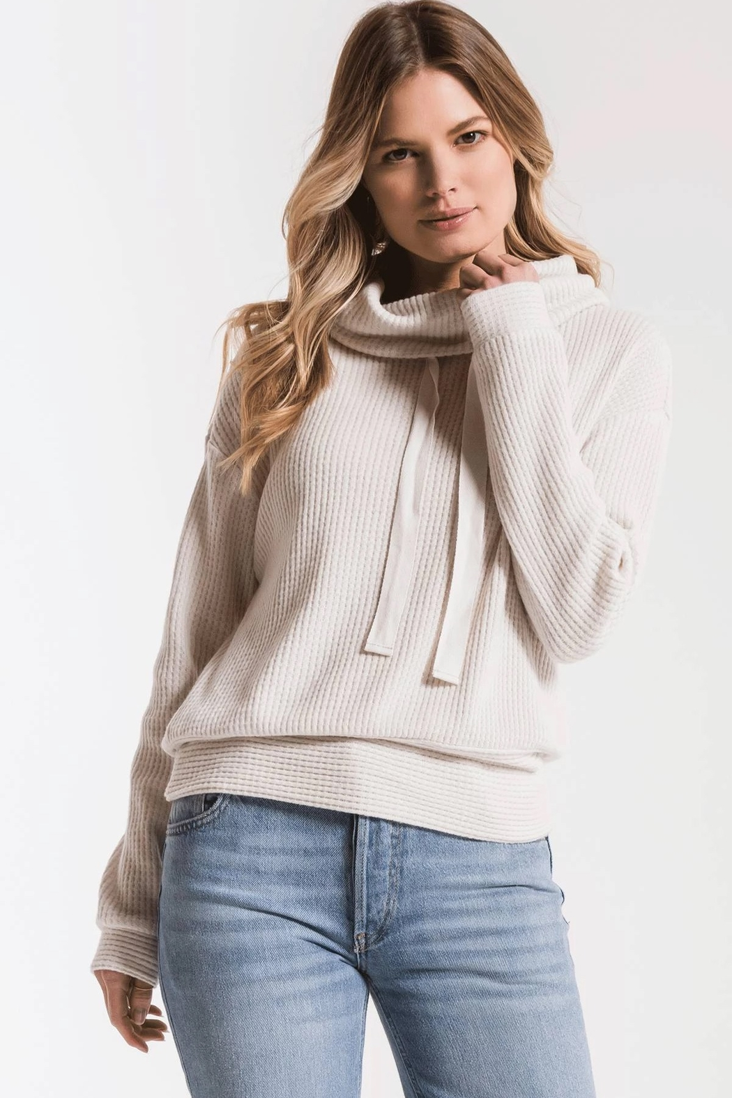 z supply Cowl Neck Waffle Thermal - Main Image