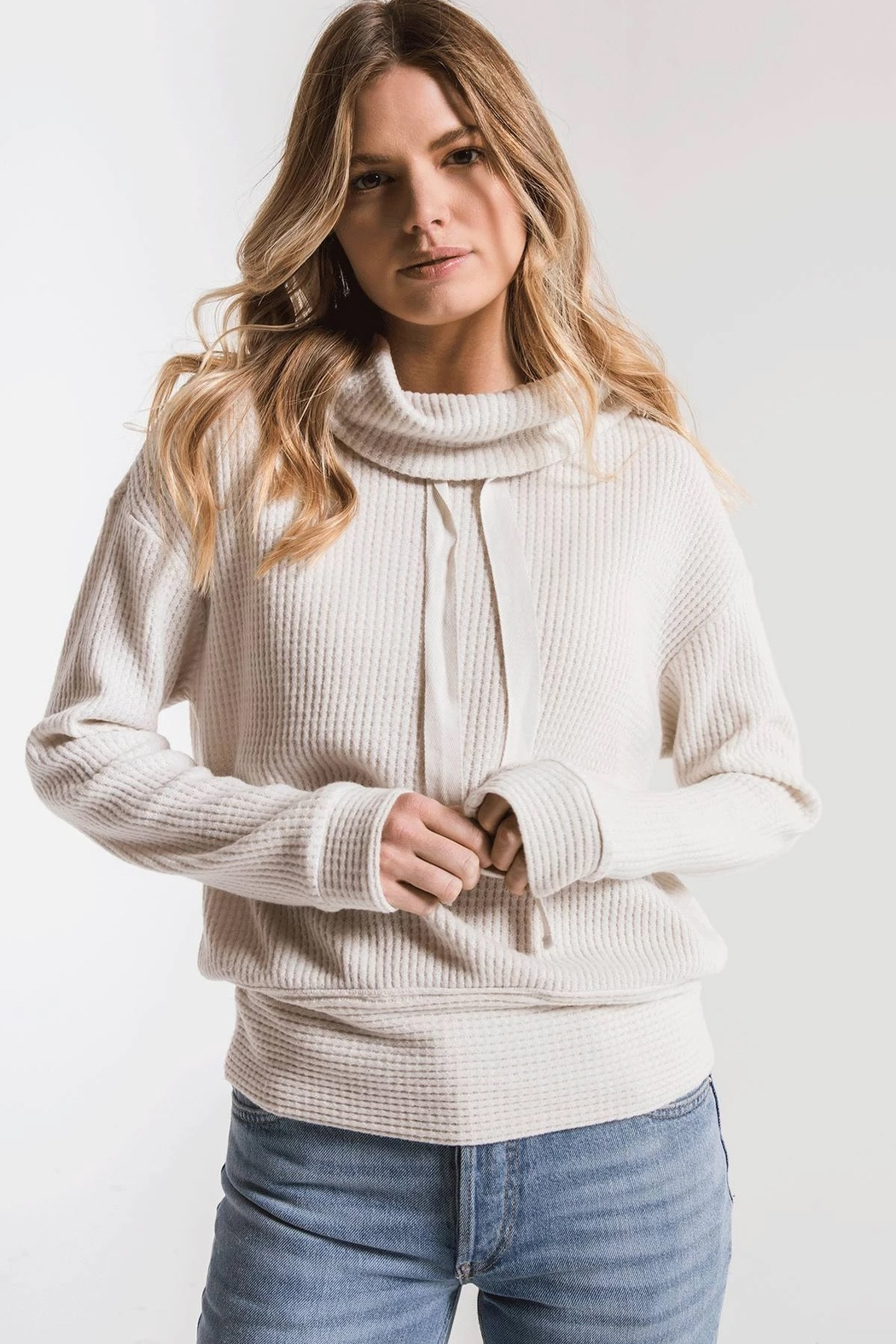 z supply Cowl Neck Waffle Thermal - Front Full Image