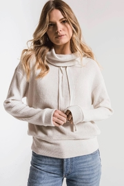 z supply Cowl Neck Waffle Thermal - Front full body