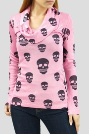 Imagine That Cowlneck Skull Top - Front cropped