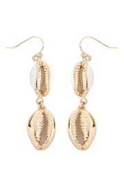 Riah Fashion Cowrie-Shell Fish-Hook-Earrings - Product Mini Image