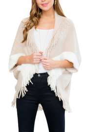Lyn-Maree's  Cozy 2 Tone Fringe Cardi - Front cropped