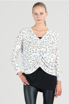 Clara Sunwoo Cozy Animal Print Center Ruched Sweater Top - Product List Image
