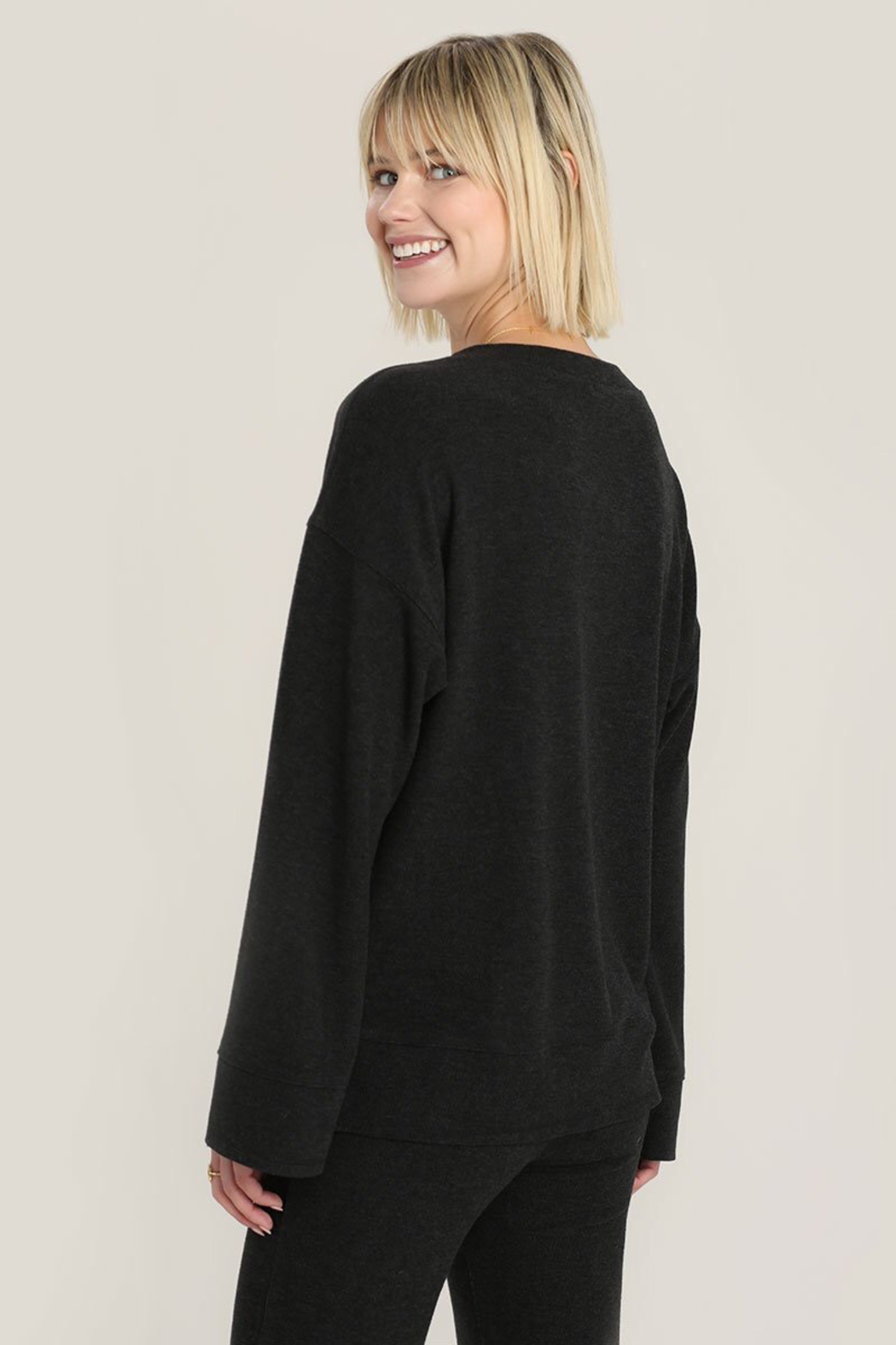 Hello Nite Cozy Brushed Top - Back Cropped Image