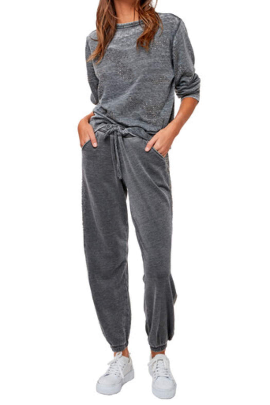 Astars Cozy burn out french terry joggers with gunmetal studs on the side seams - Main Image
