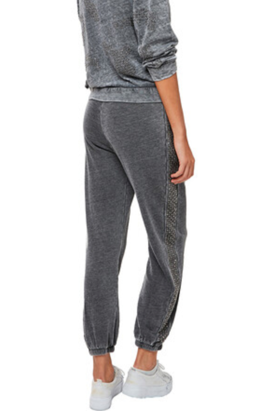 Astars Cozy burn out french terry joggers with gunmetal studs on the side seams - Front Full Image