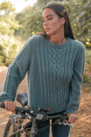 Wooden Ships Cozy Cableknit Crew - Front full body