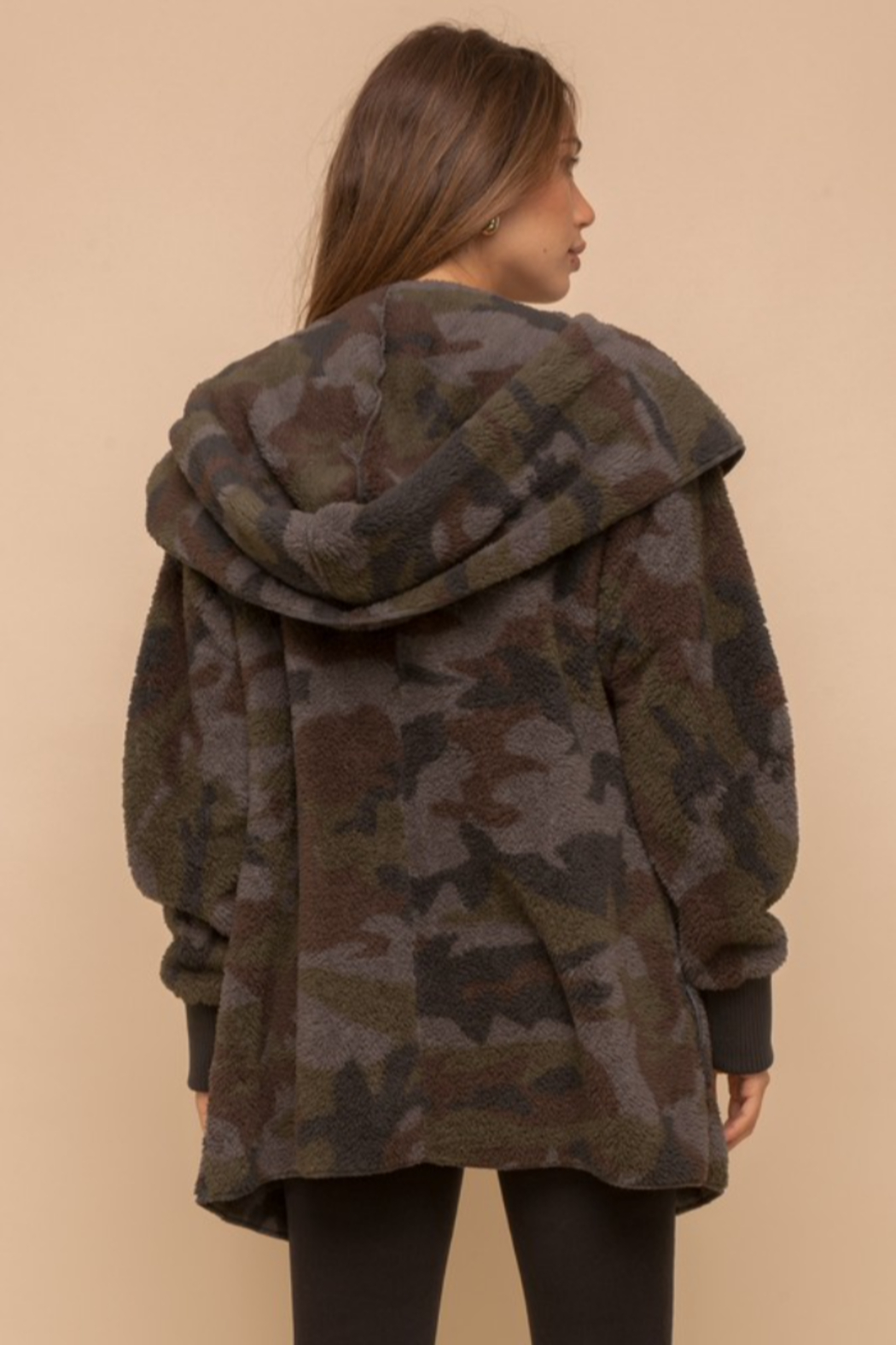 Hem & Thread Cozy Camo Faux Fur Open Jacket - Back Cropped Image