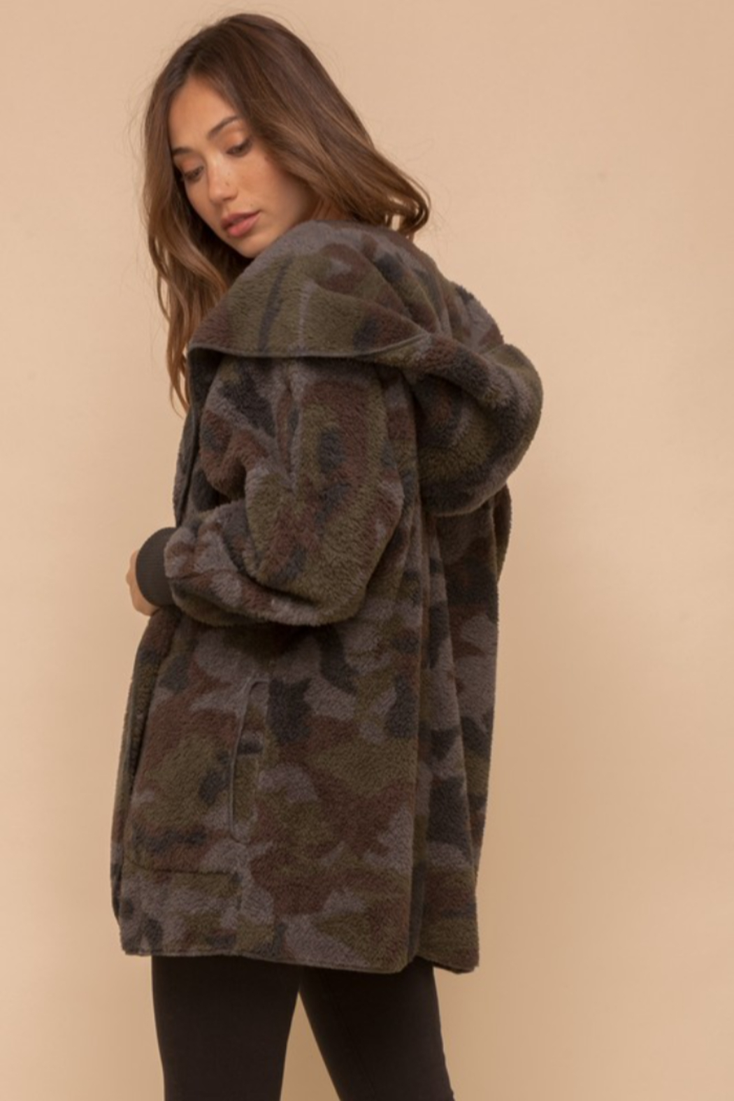 Hem & Thread Cozy Camo Faux Fur Open Jacket - Front Full Image