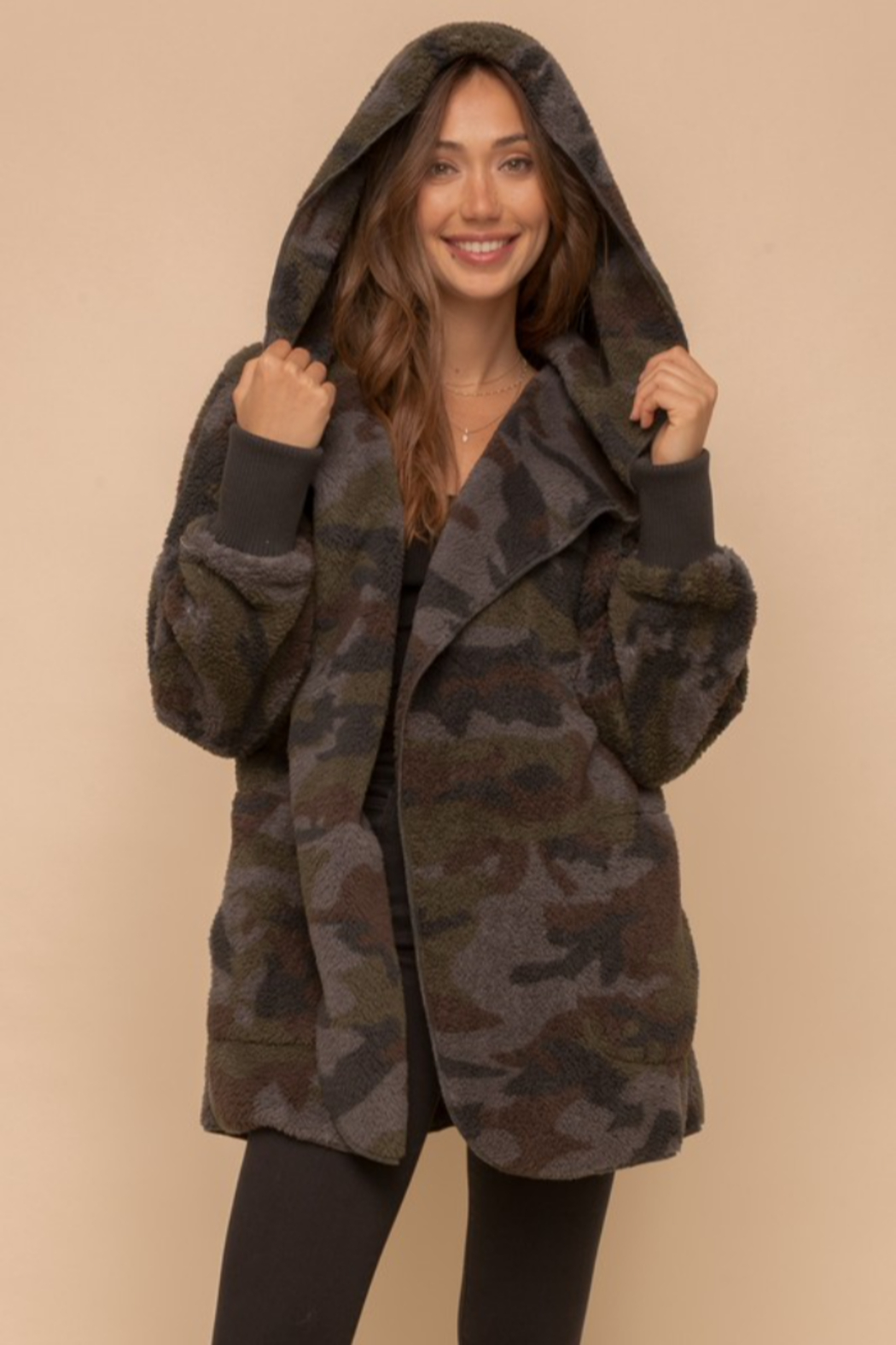 Hem & Thread Cozy Camo Faux Fur Open Jacket - Side Cropped Image
