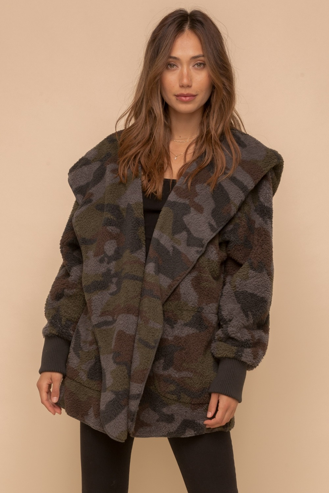 Hem & Thread Cozy Camo Faux Fur Open Jacket - Main Image