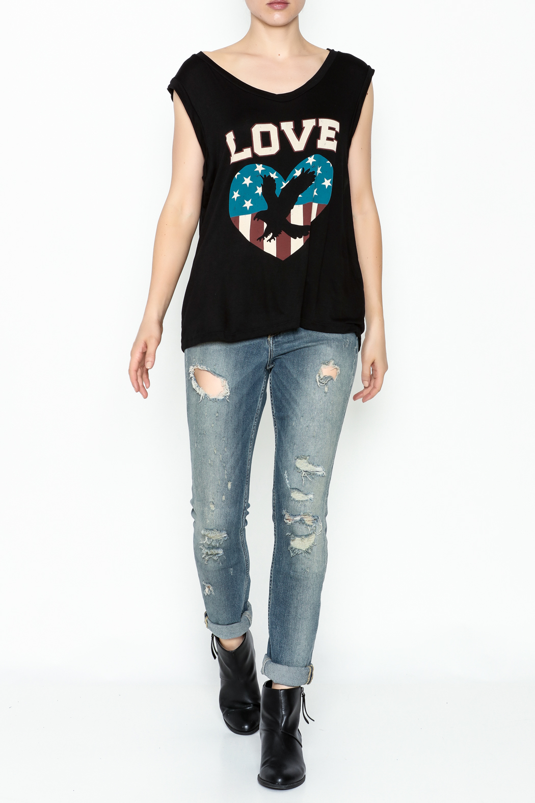 Cozy Casual Patriotic Love Tank - Side Cropped Image