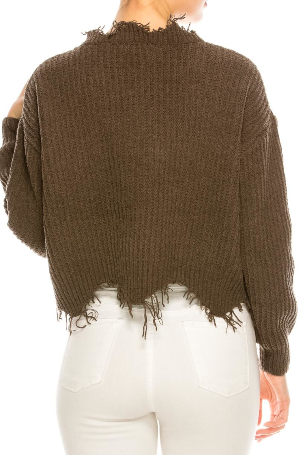 dress forum Cozy Distressed Sweater - Back Cropped Image