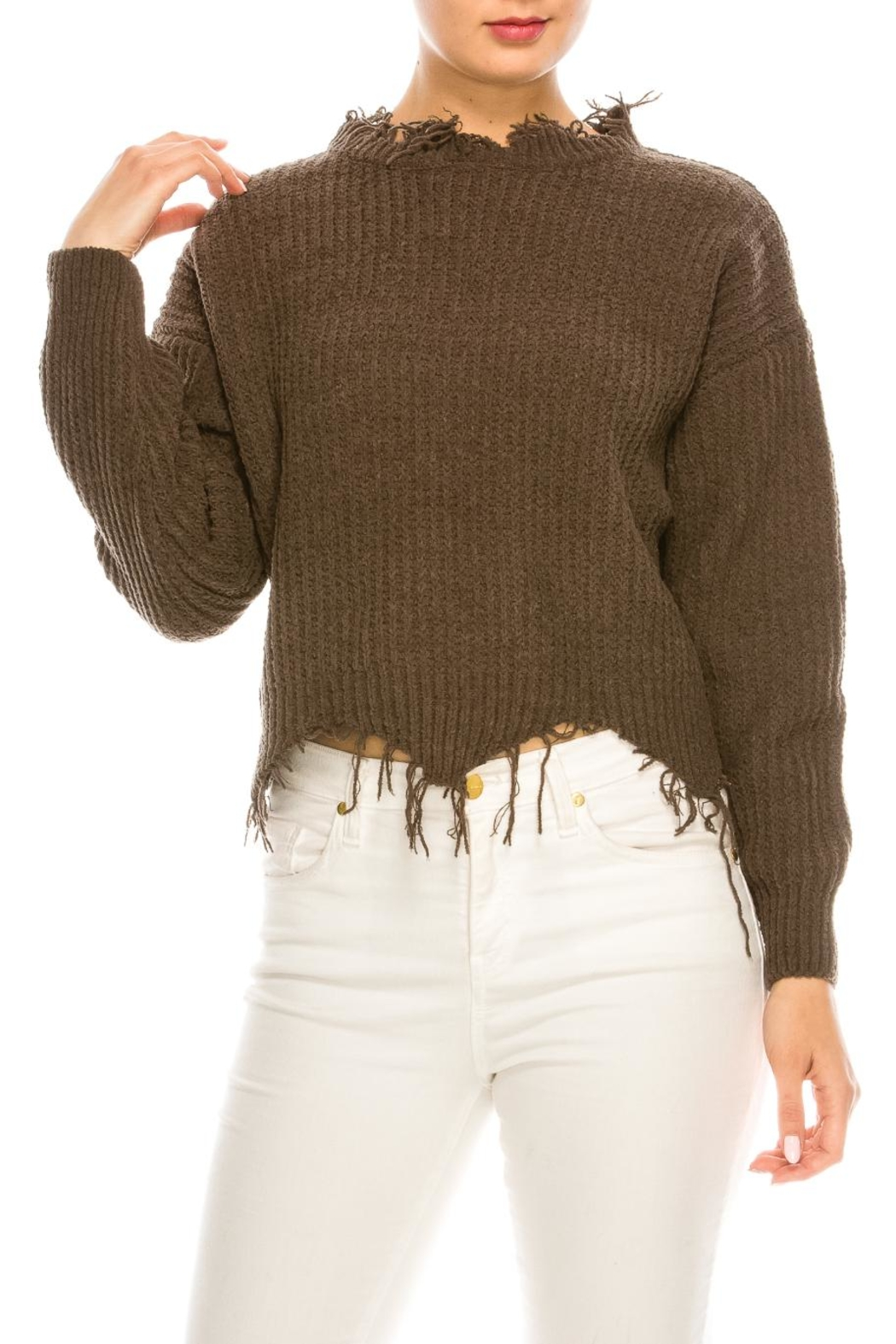 dress forum Cozy Distressed Sweater - Front Full Image