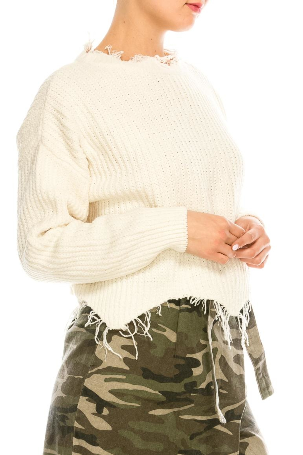 dress forum Cozy Distressed Sweater - Side Cropped Image