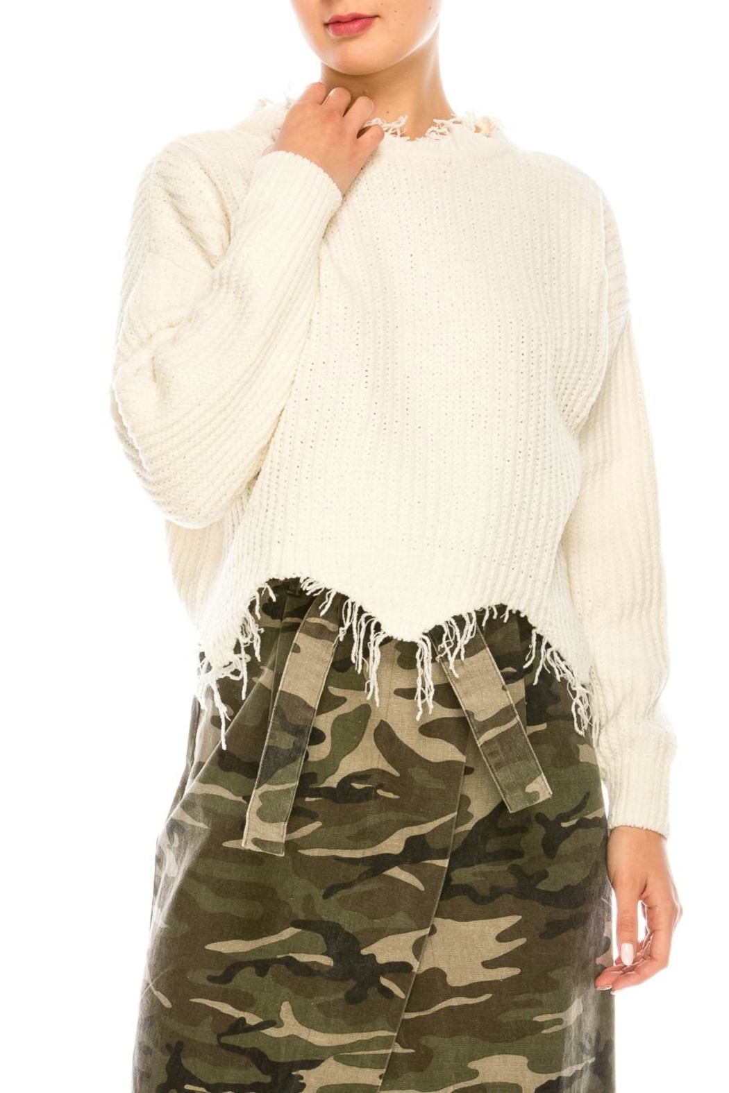 dress forum Cozy Distressed Sweater - Front Cropped Image