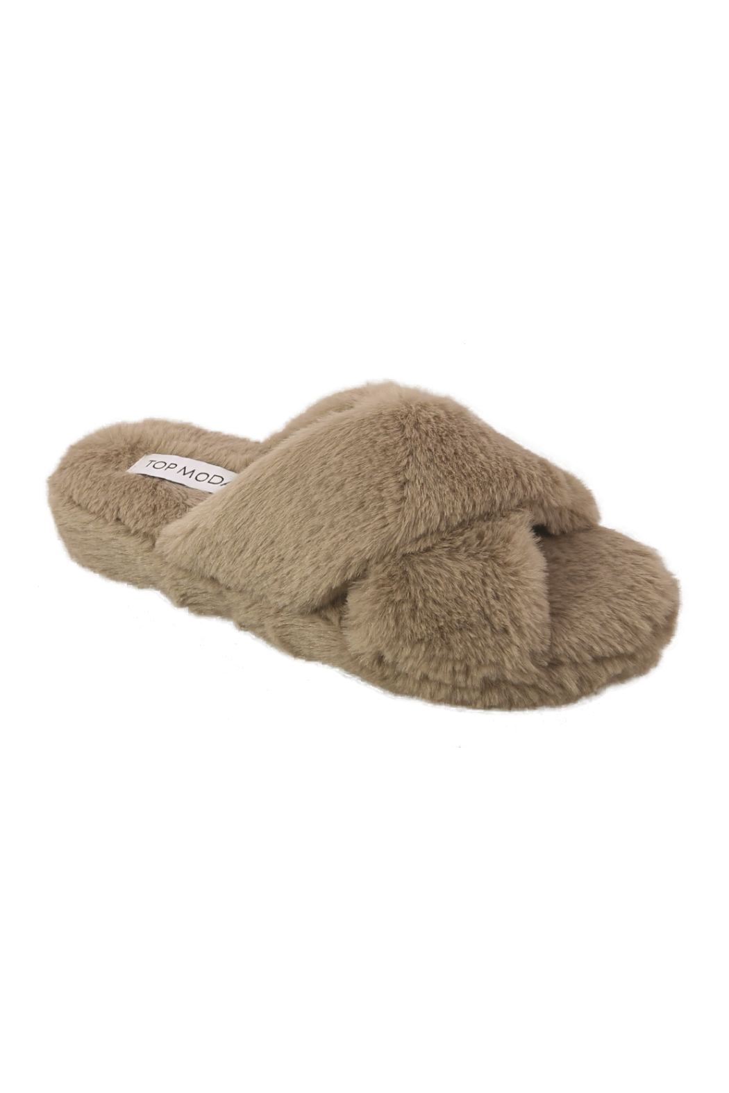 Top Guy Cozy Faux Fur Slippers - Front Cropped Image