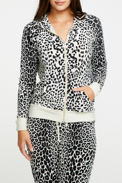 Shoptiques Product: Cozy Knit Animal Print Zip Up Hoodie