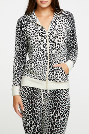 Chaser Cozy Knit Animal Print Zip Up Hoodie - Product Mini Image