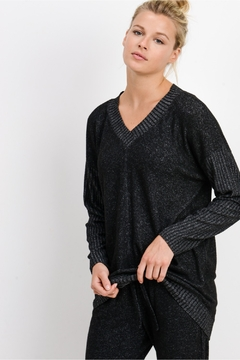 Shoptiques Product: Cozy Mixed Hacci V Neck Sweater