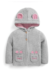 JoJo Maman Bebe Cozy Mouse Cardigan - Front cropped