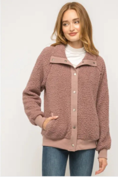 Mystree Cozy Must Have Bomber in Mauve - Product List Image