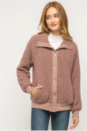 Mystree Cozy Must Have Bomber in Mauve - Product Mini Image