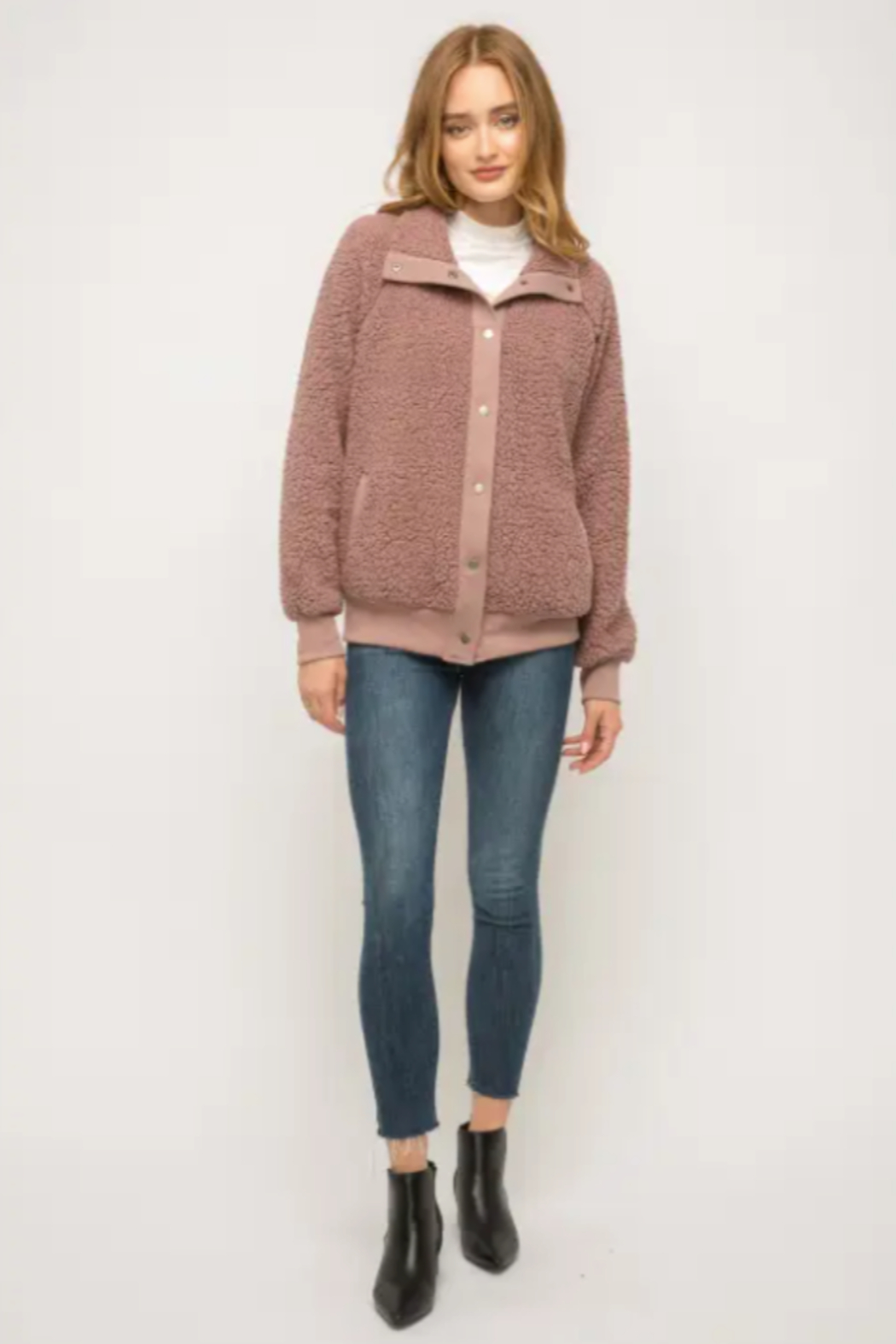 Mystree Cozy Must Have Bomber in Mauve - Side Cropped Image