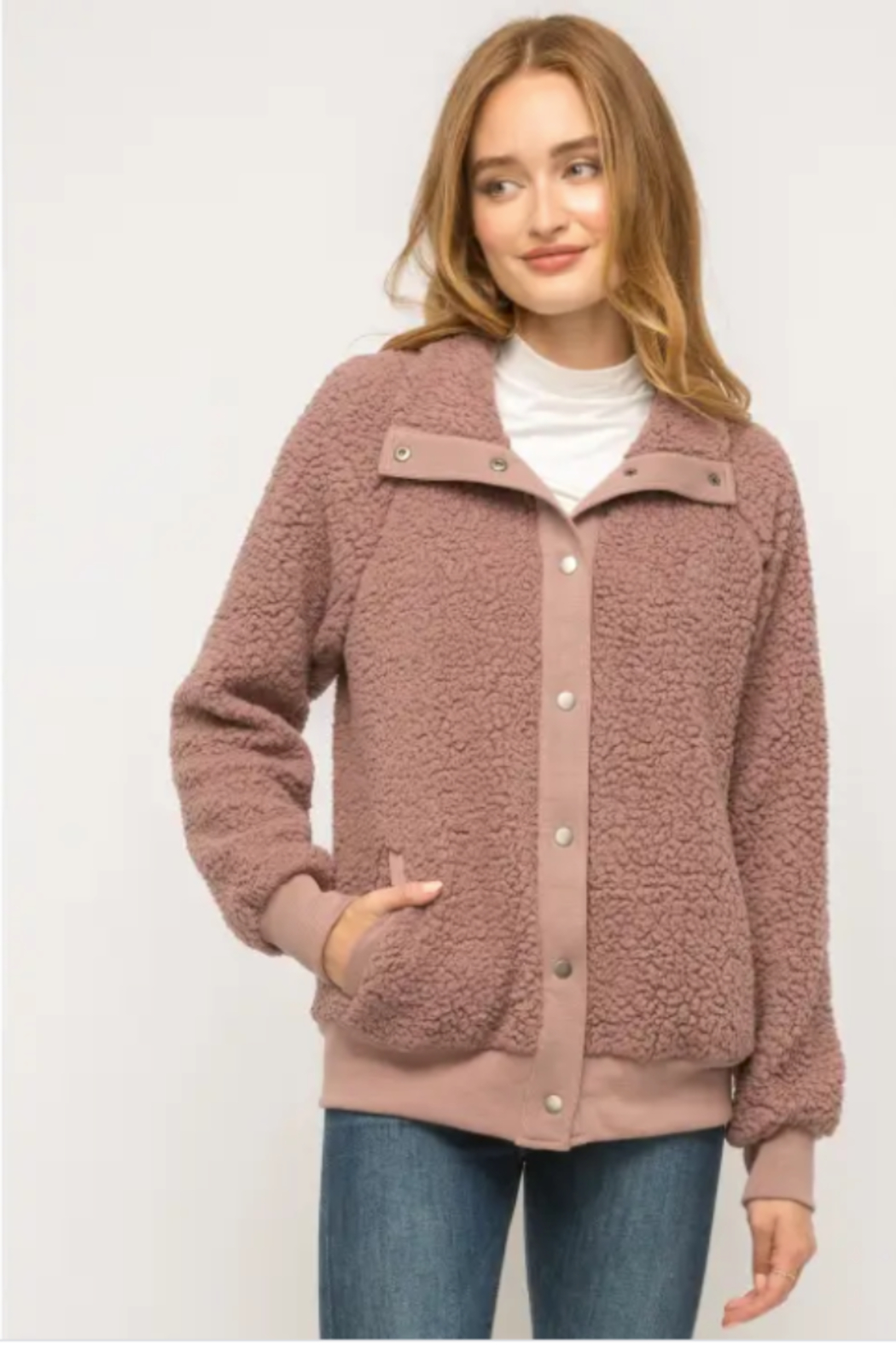 Mystree Cozy Must Have Bomber in Mauve - Main Image