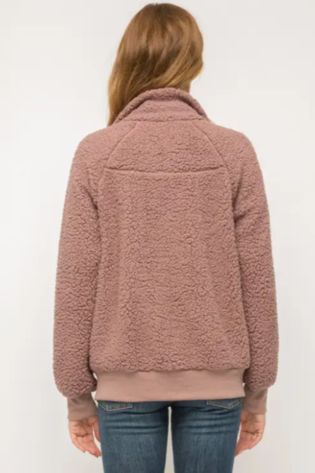 Mystree Cozy Must Have Bomber in Mauve - Back Cropped Image
