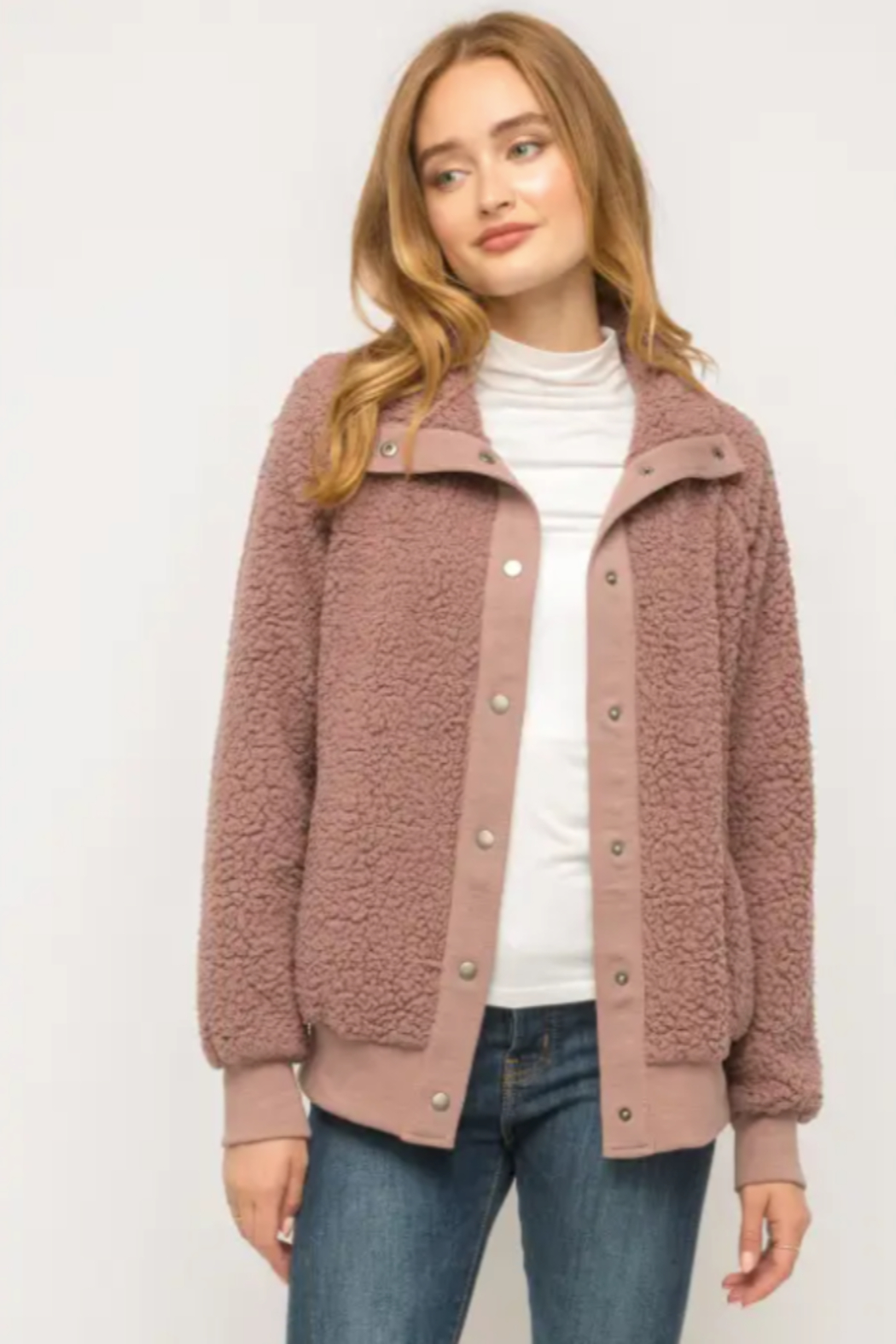 Mystree Cozy Must Have Bomber in Mauve - Front Full Image