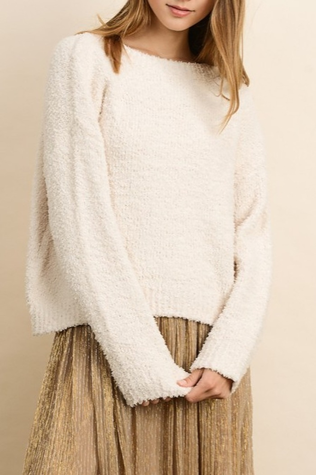 Dress Forum  Cozy Pullover Sweater - Front Cropped Image