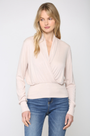 Fate Cozy Ribbed Surplice Top - Front cropped